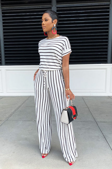 Be Stripe Back Jumpsuit (Blk/Wht) PRE-ORDER 6/12
