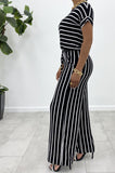 Be Stripe Back Jumpsuit (Ivory/Black)
