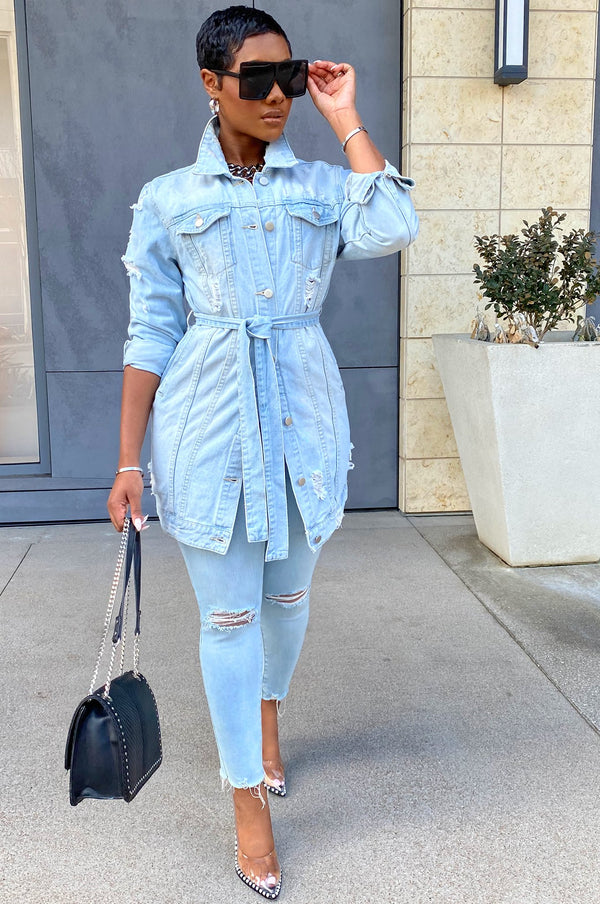 High Fashion Denim Jacket - Light Blue