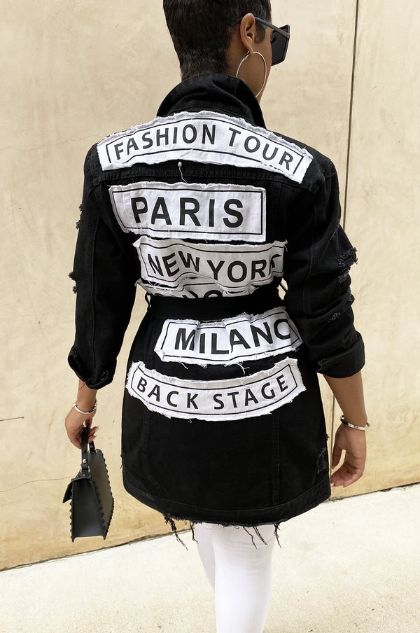 High Fashion Denim Jacket (Black)