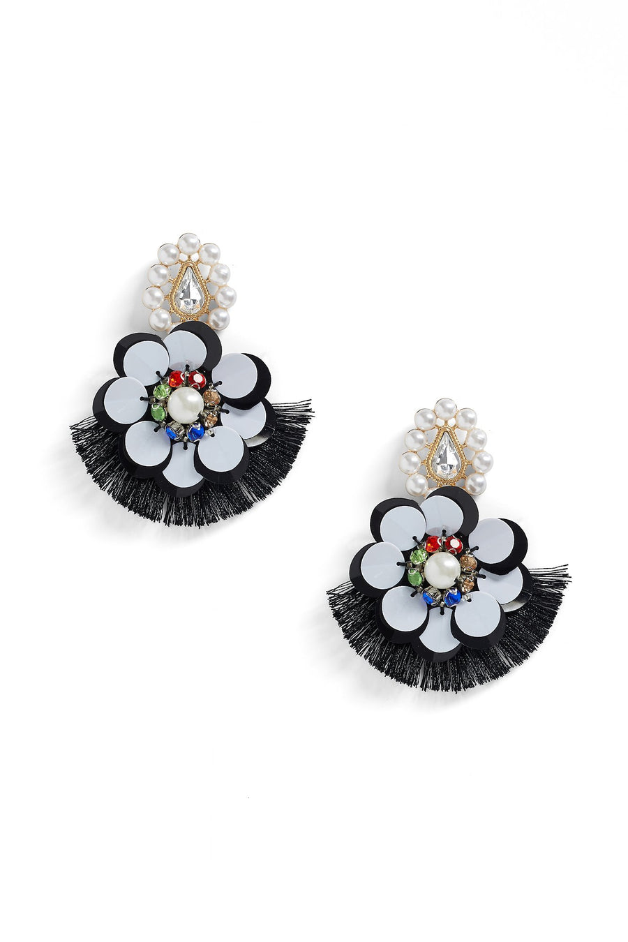 Florally Fringed Earring (Black)