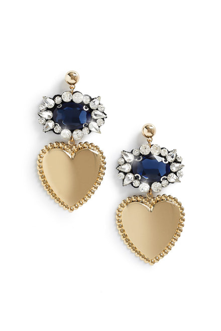 Queen Of Hearts Earrings (Blue)