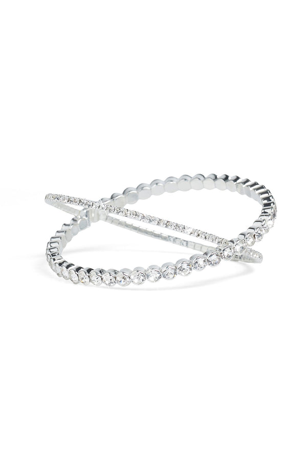 Criss Crossed Over Bracelet -Silver
