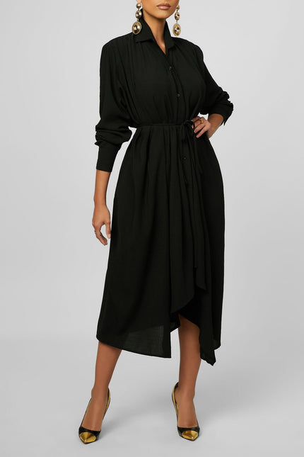Its All About The Pleat-tails Maxi Dress (Black)