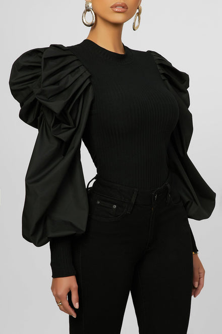One More Puff Top - Black