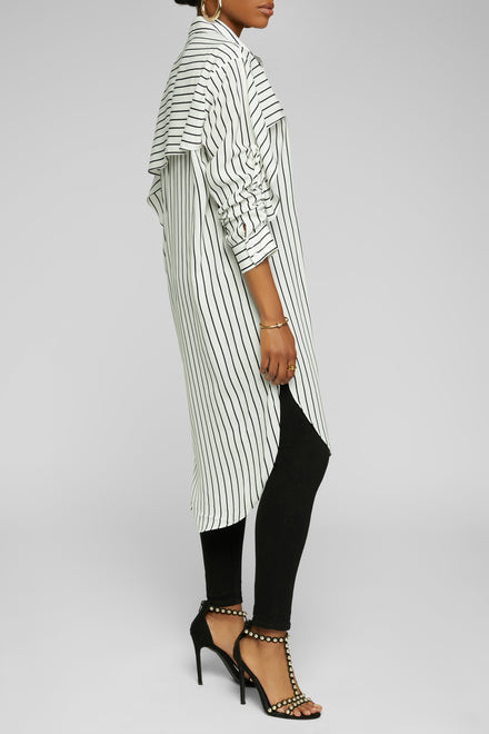 Making It Striped Down Tunic (Wht/Blk)