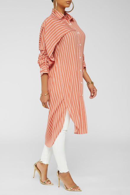Making It Striped Down Tunic (Coral)