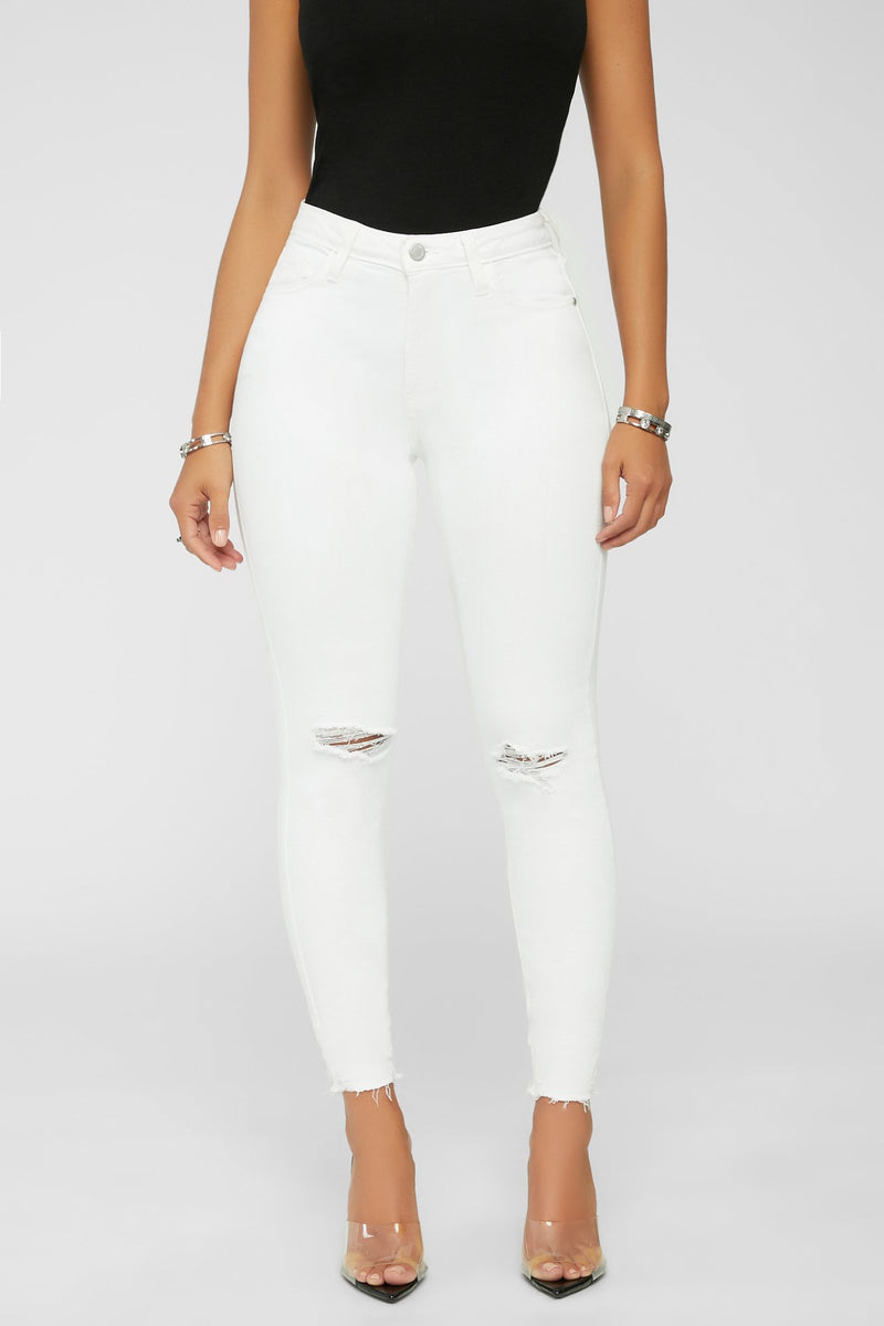 On A New Level Jeans - White