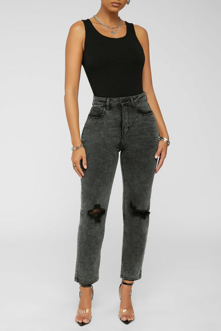 Wash Out Acid Jeans - Black