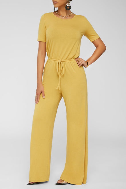 Jumping For Joy Jumpsuit (Lt Mustard)