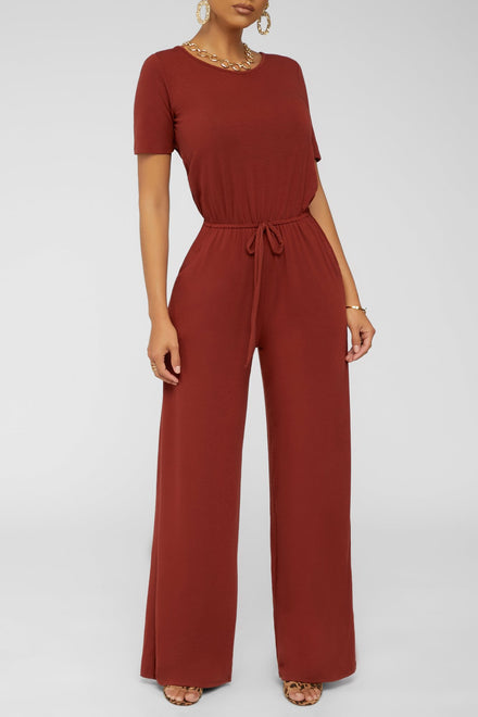 Jumping For Joy Jumpsuit (Dk Rust)