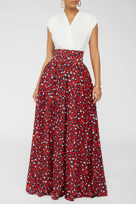 Pounce & Pose Maxi Skirt (Red)