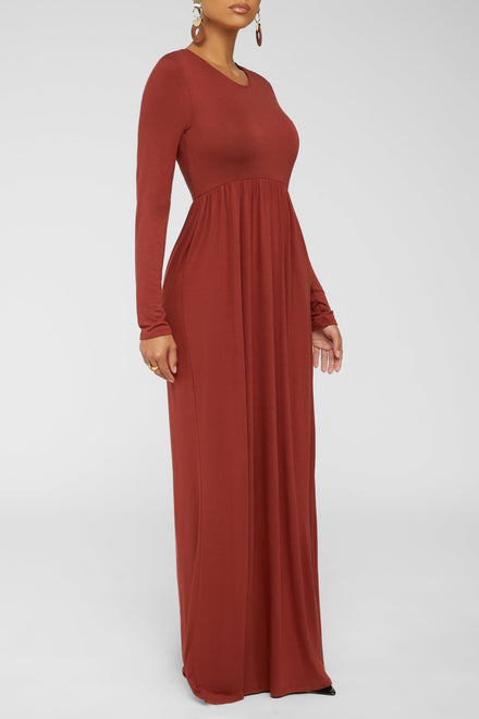 Where To Begin Maxi Dress - Brick