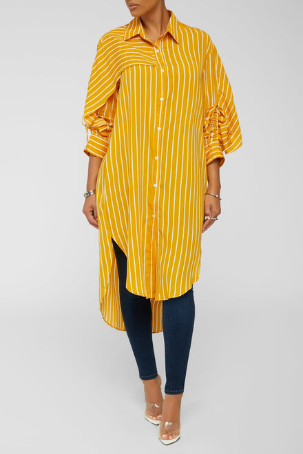 Making It Striped Down Top - Mustard