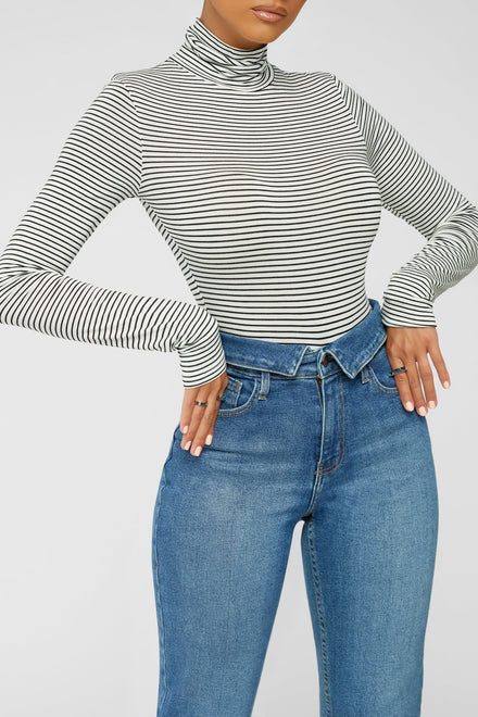 Stripe It Together Bodysuit - Black and White