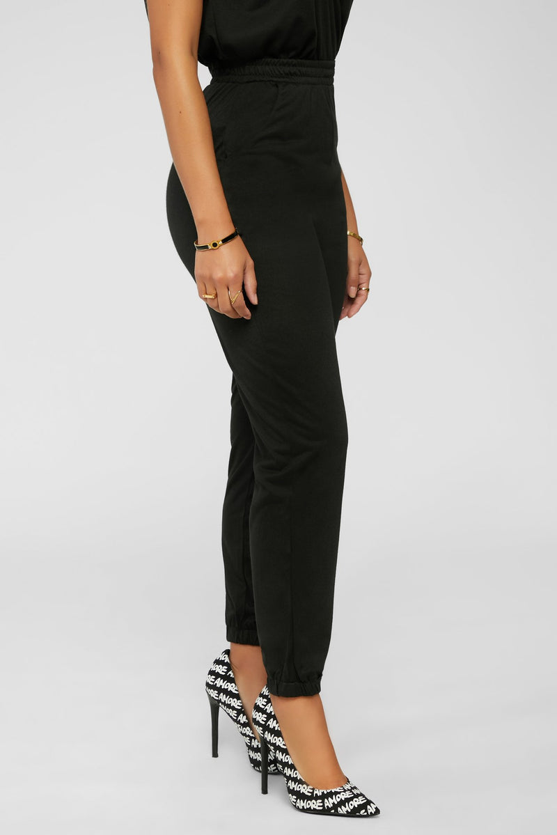 Chilling And Cute Jogger Set- Black
