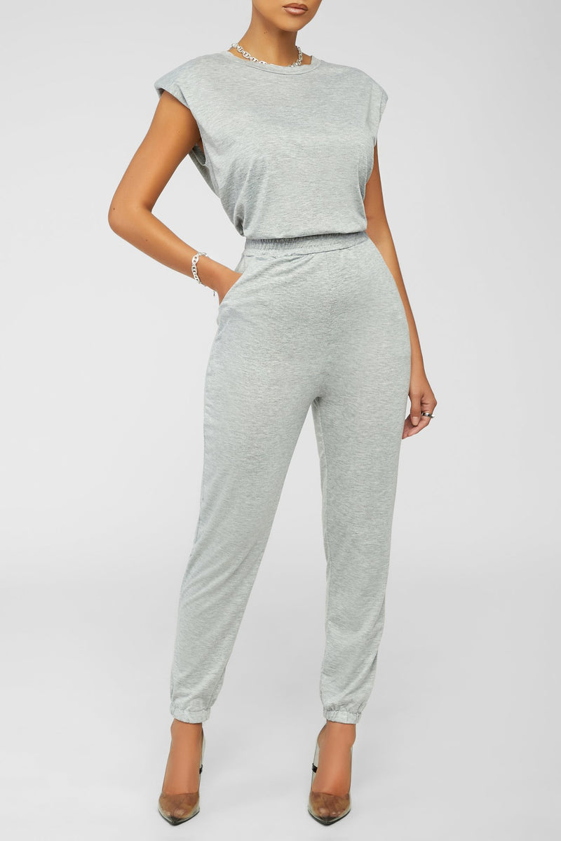 Chilling And Cute Jogger Set - Grey