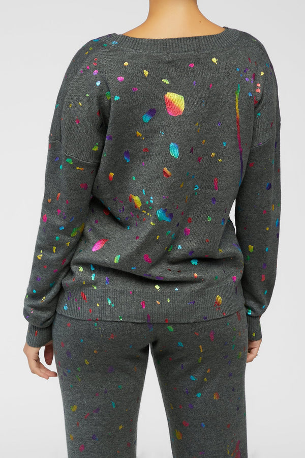 Pop Of Color Sweater - Charcoal