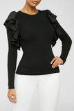Ruffle Era Top - Black