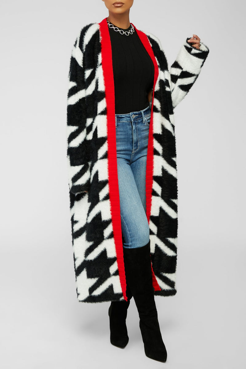 Classy And Cozy Cardigan - Black/White