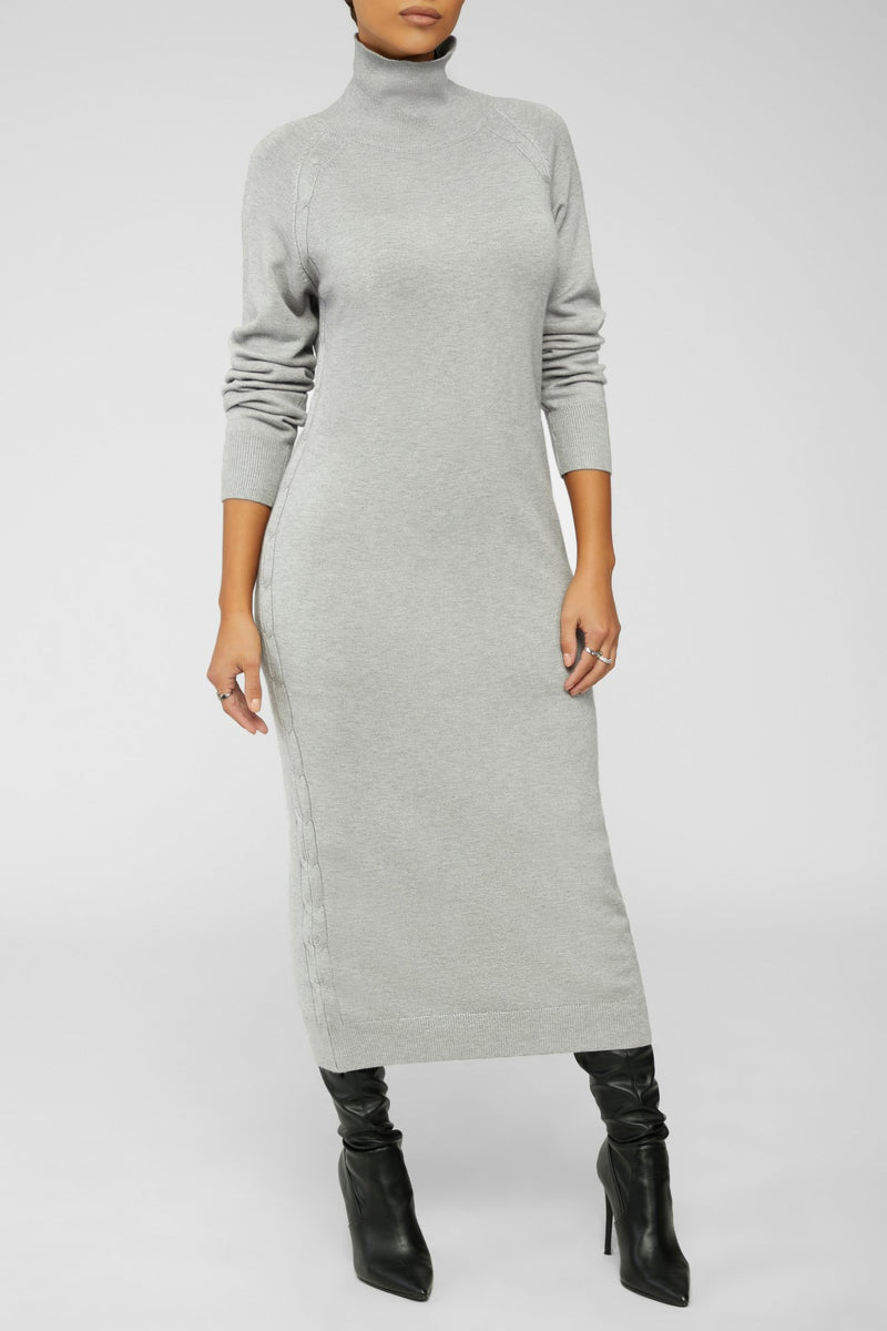 Gray Skies Sweater Dress - Light Gray