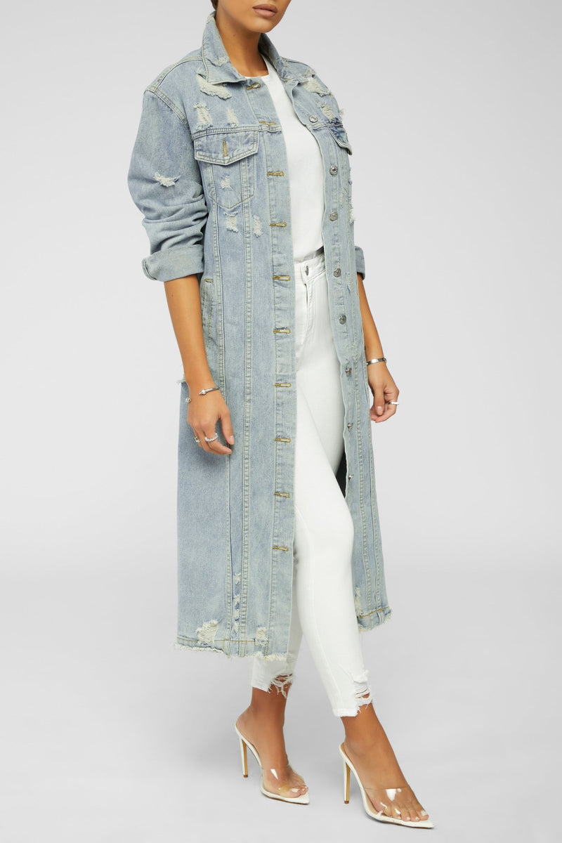 Inspired By You Denim Jacket- Light Blue