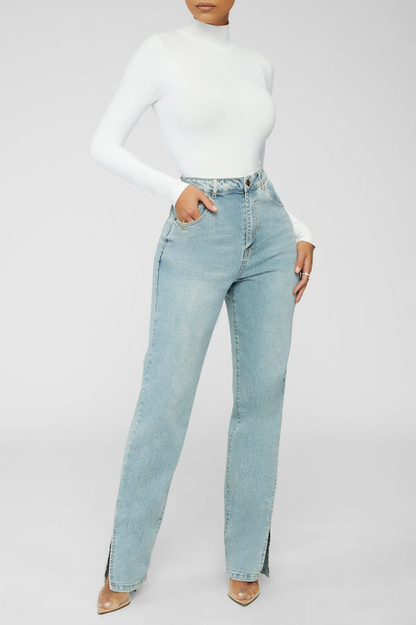 In A Split Second Mom Jeans - Light Blue