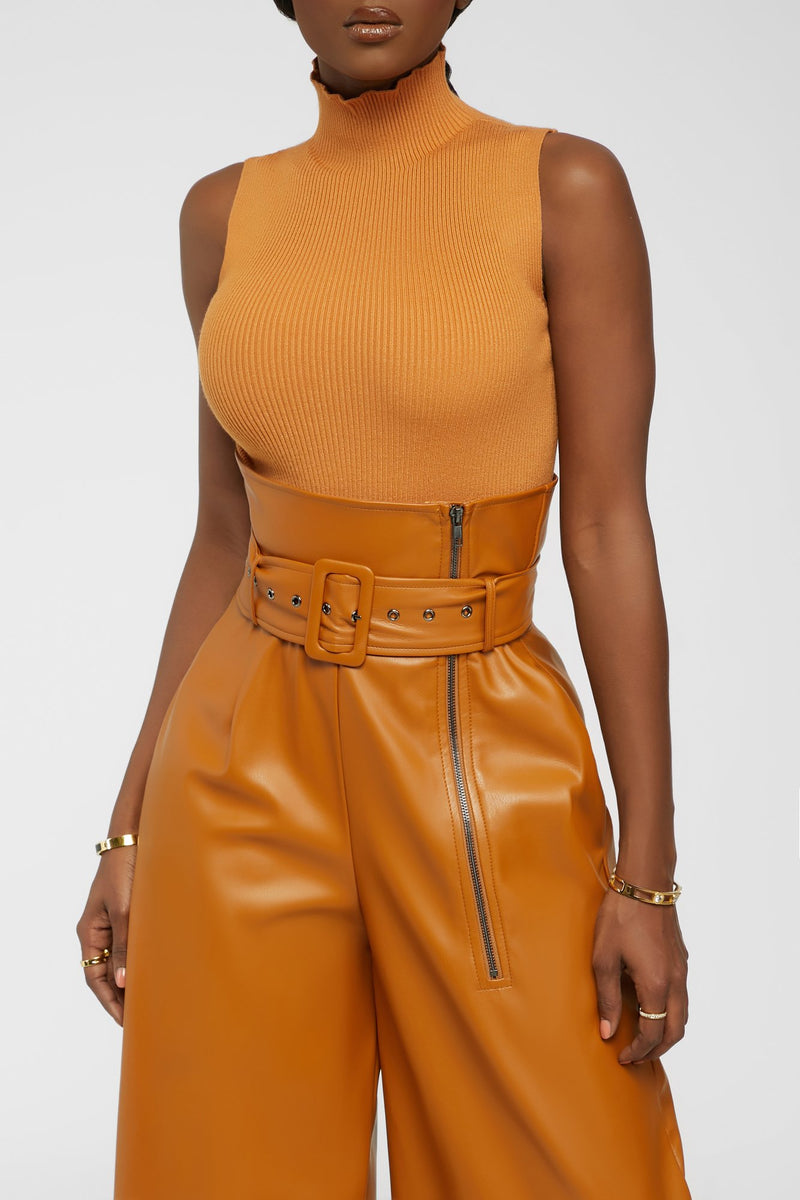 Up To Something Good Turtleneck - Rusted Orange