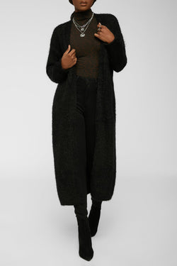 Warm And Fuzzy Cardigan - Black