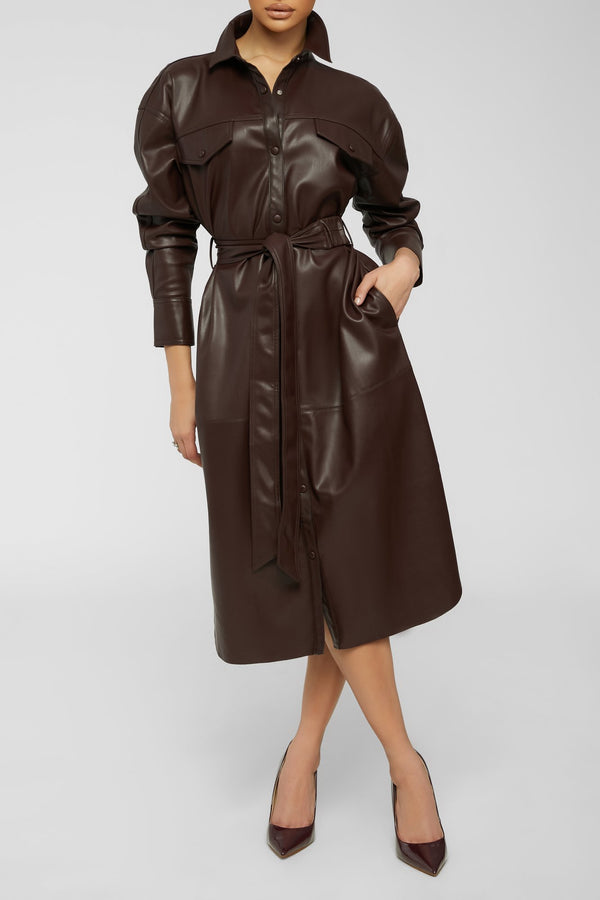 Leather Me With Love Dress - burgundy