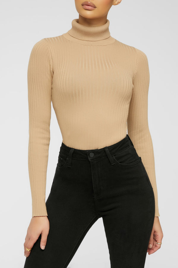 Ribbed And Ready Bodysuit - Taupe