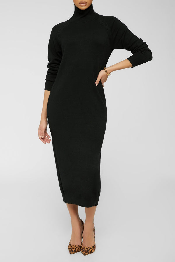 Dark Skies Sweater Dress - Black