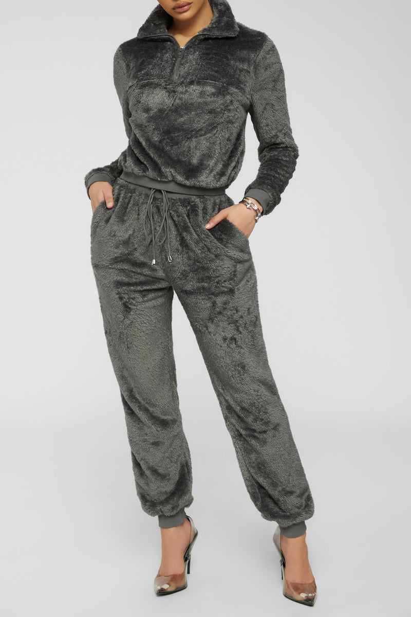 Reach Fur More Top -  Charcoal