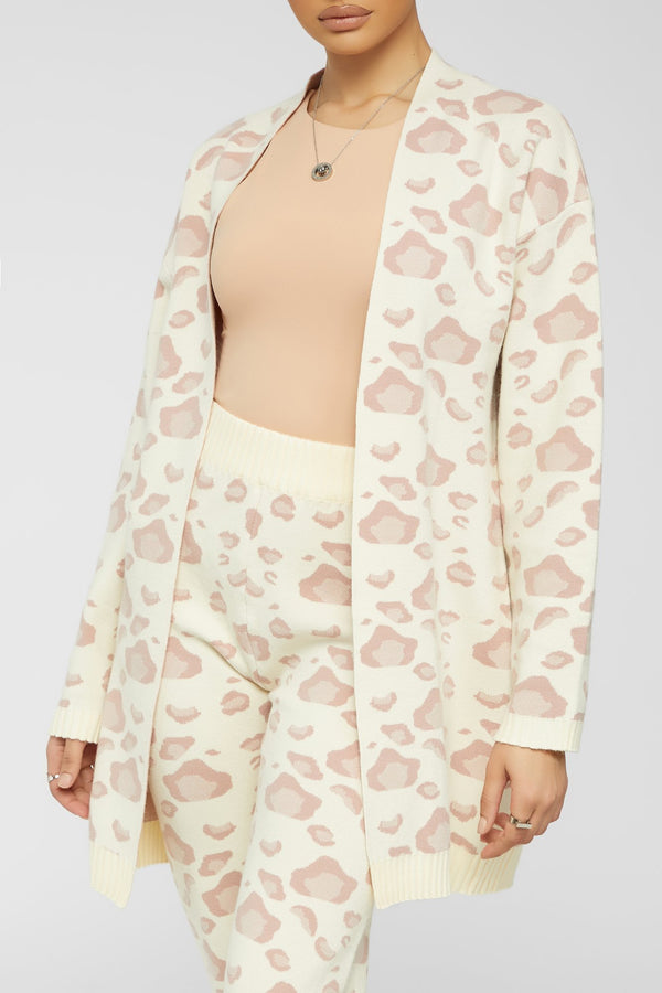Feline Real Cozy Cardigan Set - Cream/Pink
