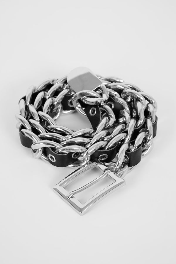 CHAIN REACTION BELT - SILVER