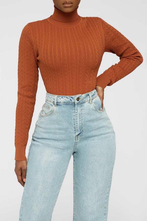 Ready For Knit Bodysuit - Rust