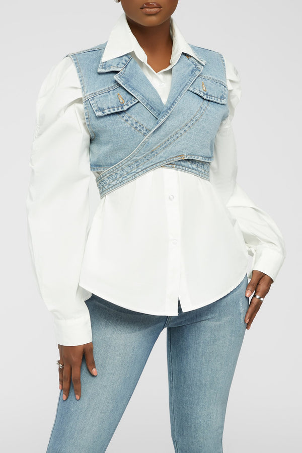 Make It Vintage Top - White/Denim