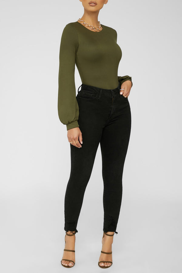 A Classic Statement Bodysuit - OLIVE