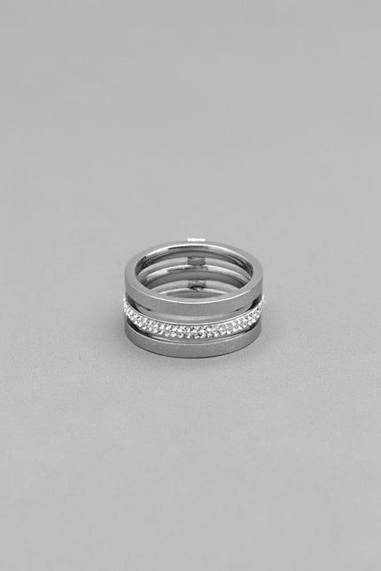 Double Spear CZ Silver Ring
