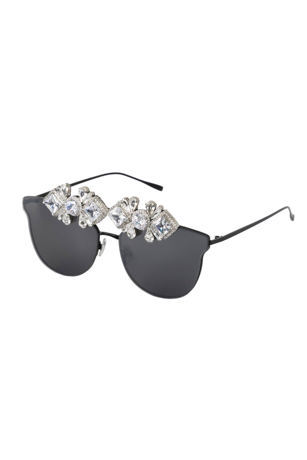The Milani Rounded Mirror Sunglasses - Ice Black