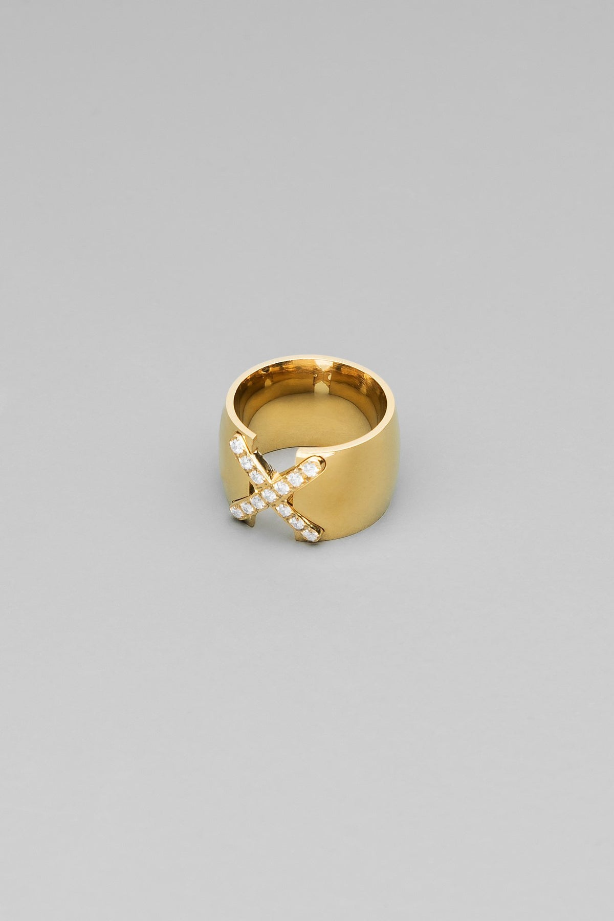 X Marks The Spot CZ Gold Ring