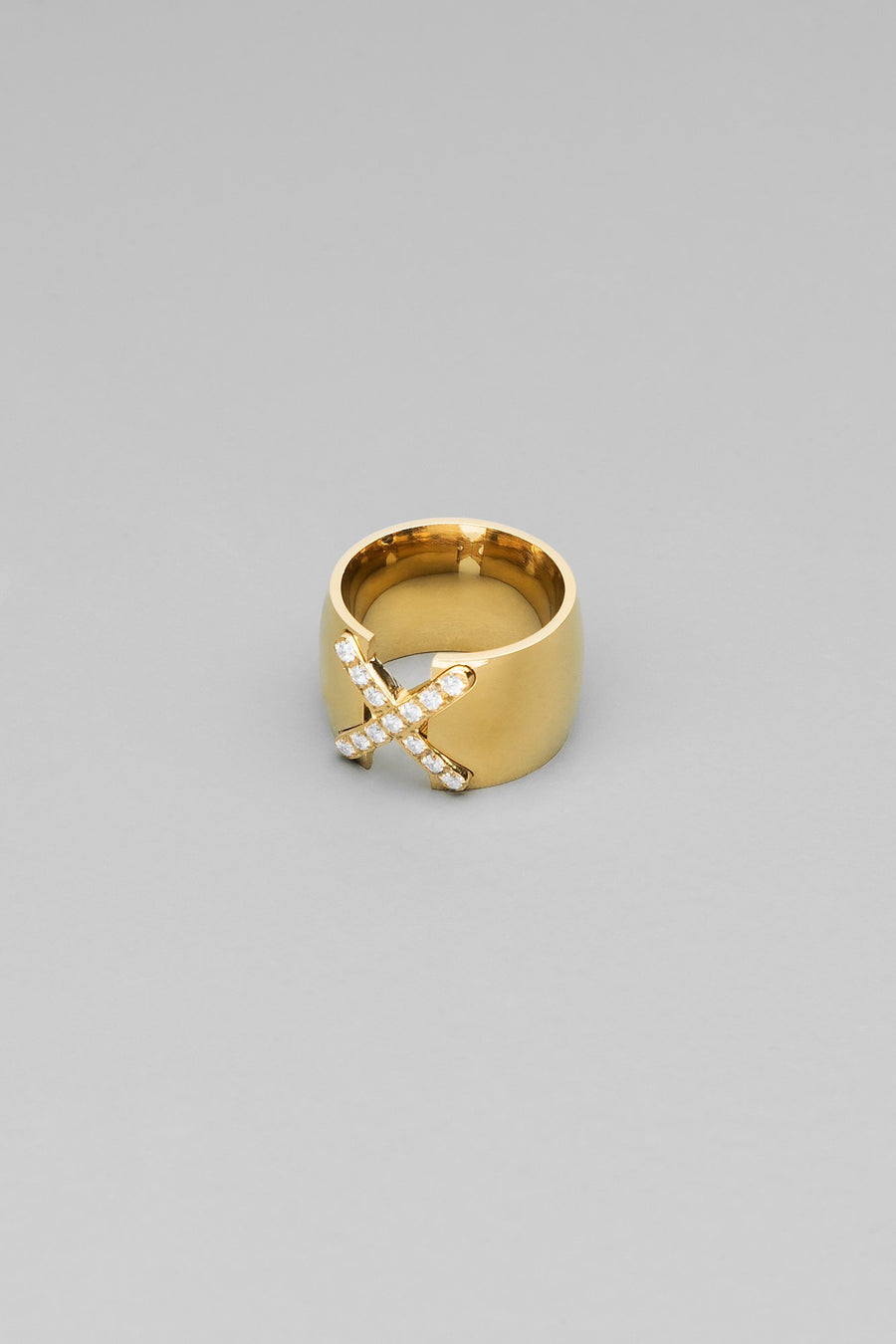 X Marks The Spot CZ Gold Ring - Kosmios