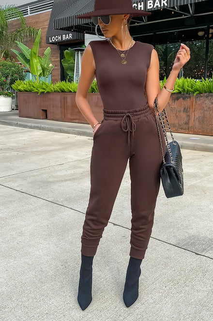 Slay In Comfort Jogger Set - Brown