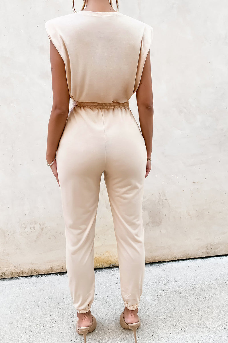 Chilling And Cute Jogger Set - Nude
