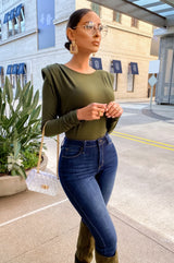 NOT SO SIMPLE TOP - OLIVE