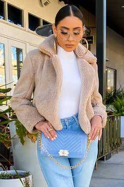 FUR EVER COZY JACKET - TAUPE