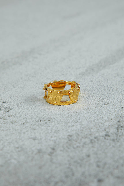Double Row Curve CZ Gold Ring