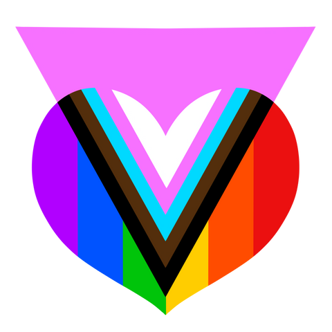 A full-colour version of the pink progress pride heart design: a rainbow heart with a pink equilateral triangle, pointed down, overlapping the heart. Where the pink triangle overlaps the heart, the design changes to black, brown, blue, pink, and white stripes. It incorporates features of the trans rights flag, pride flag, and the Quasar's progress pride flag.