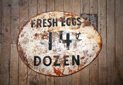 Vintage Metal Egg Sign