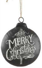 Black chalkboard round with Merry Christmas